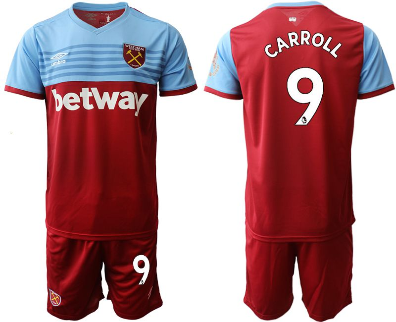 Men 2019-2020 club West Ham United home 9 red Soccer jersey