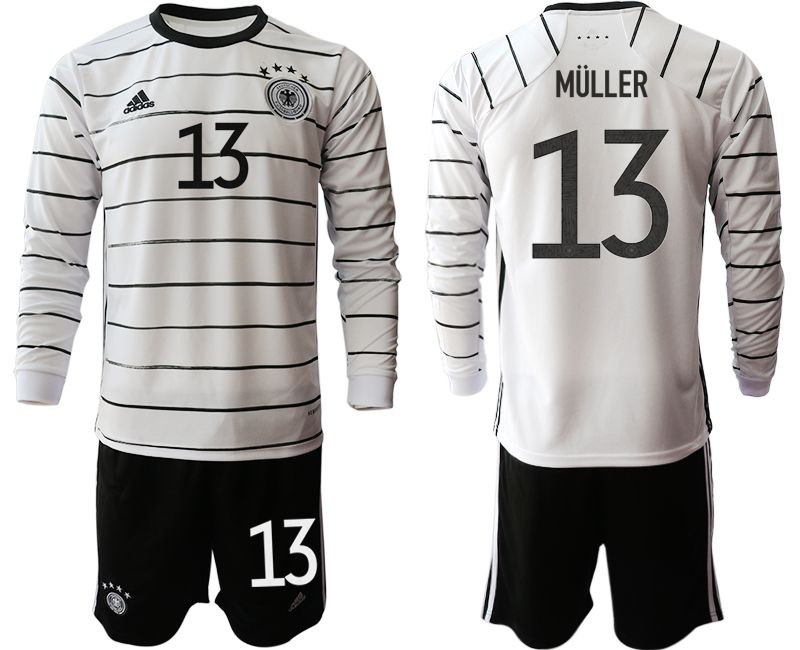 Men 2021 World Cup National Germany home long sleeve 13 white Soccer jersey1