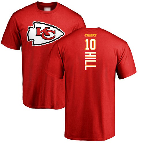 Men Kansas City Chiefs 10 Hill Tyreek Red Backer T-Shirt