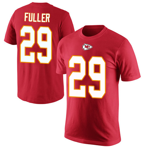 Men Kansas City Chiefs 29 Fuller Kendall Red Rush Pride Name and Number T-Shirt
