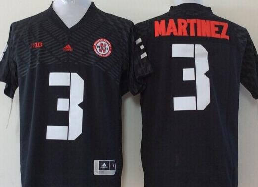 Men Nebraska Huskers 3 Martinez Black NCAA jersey