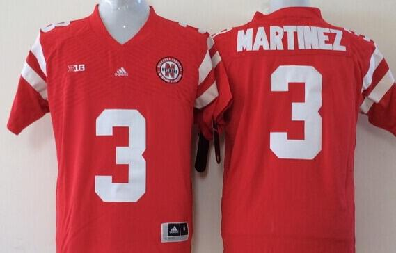 Men Nebraska Huskers 3 Martinez Red NCAA jersey