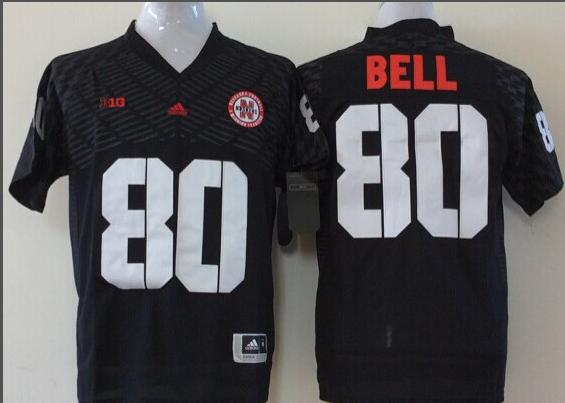 Men Nebraska Huskers 80 Bell Black NCAA jersey