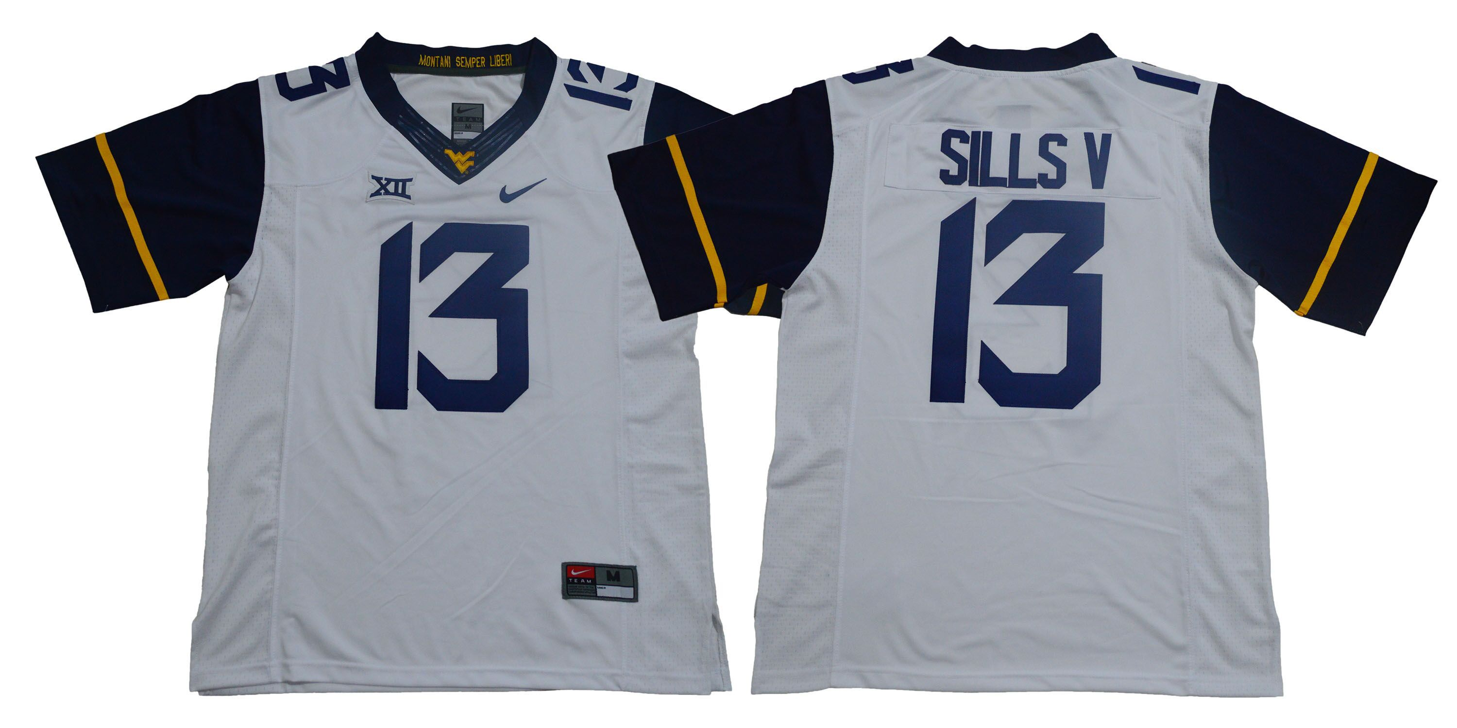Men West Virginia Mountaineers 13 Sills v White Nike NCAA jersey