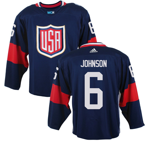 Mens Team USA 6 Erik Johnson 2016 World Cup of Hockey Olympics Game Navy Blue jersey