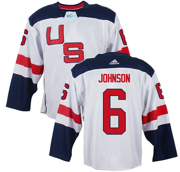 Mens Team USA 6 Erik Johnson 2016 World Cup of Hockey Olympics Game White jersey