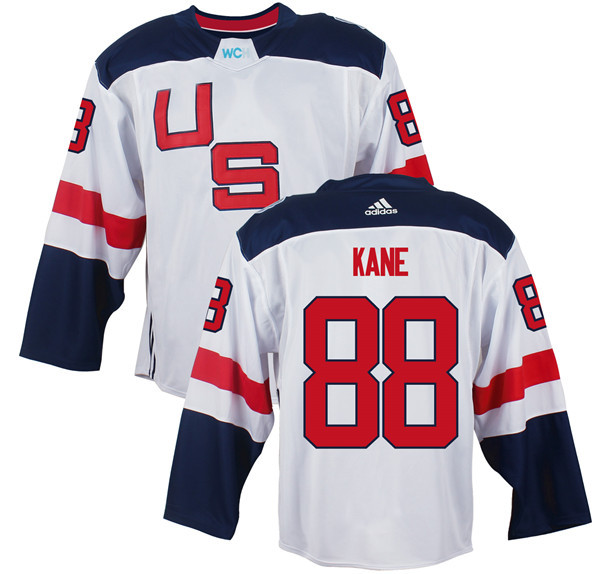 Mens Team USA 88 Patrick Kane 2016 World Cup of Hockey Olympics Game White jersey