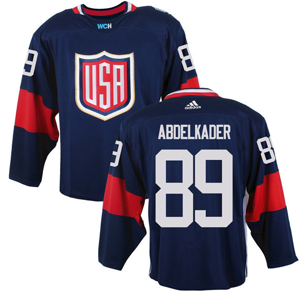 Mens Team USA 89 Justin Abdelkader 2016 World Cup of Hockey Olympics Game Navy Blue jersey