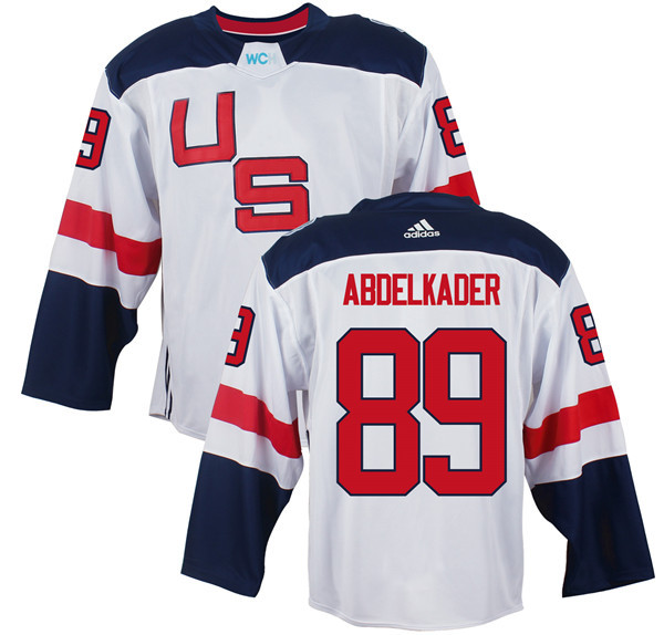 Mens Team USA 89 Justin Abdelkader 2016 World Cup of Hockey Olympics Game White jersey