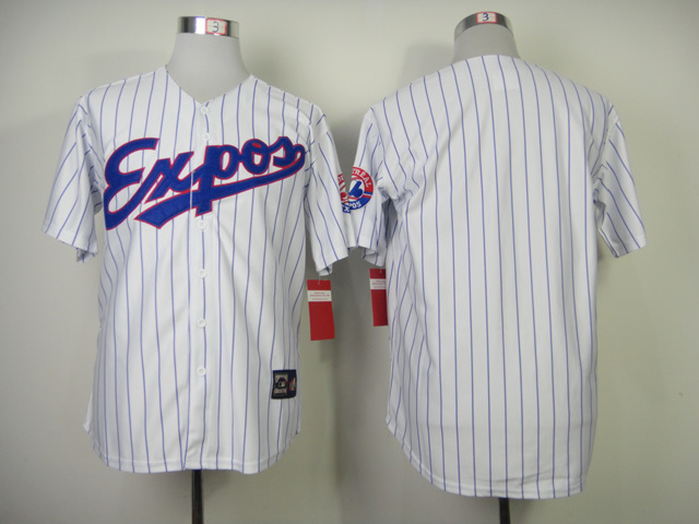 MLB Montreal Expos Blank White stripes jersey
