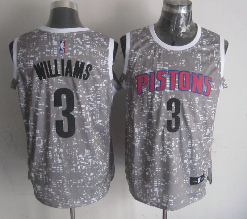 NBA Detroit Pistons 3 Williams Grey National Flag Star Jersey