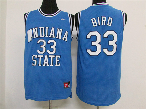 NCAA Indiana State Sycamores 33 Larry Bird Blue jersey