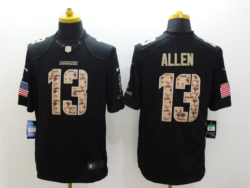 Los Angeles Chargers 13 Allen Black Nike Salute TO Service jersey