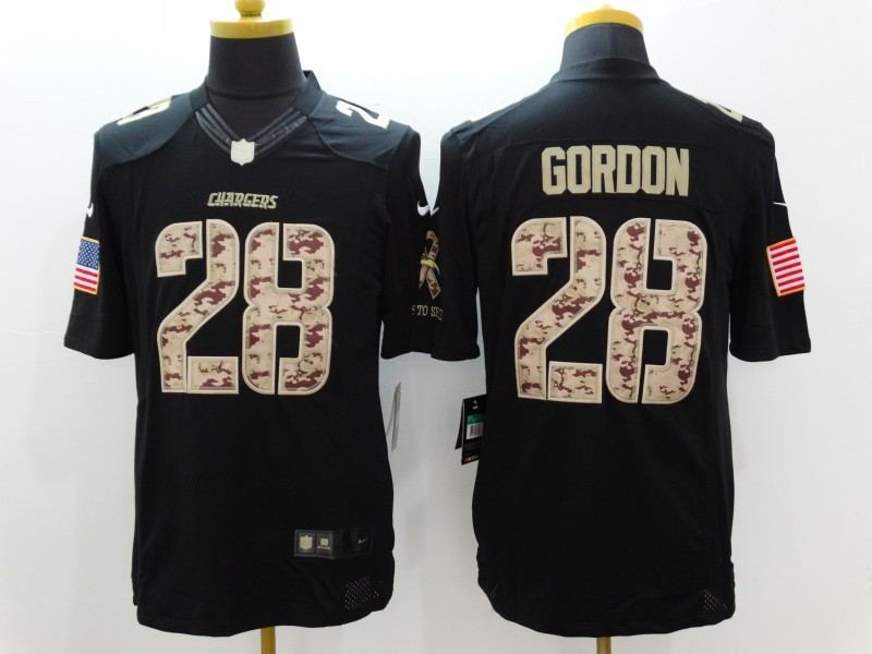 Los Angeles Chargers 28 Gordon Black Nike Salute TO Service jersey