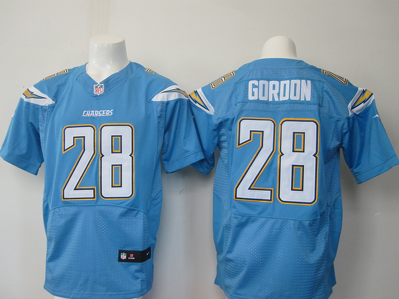 Los Angeles Chargers 28 Goroon Light Blue Elite Nike jersey